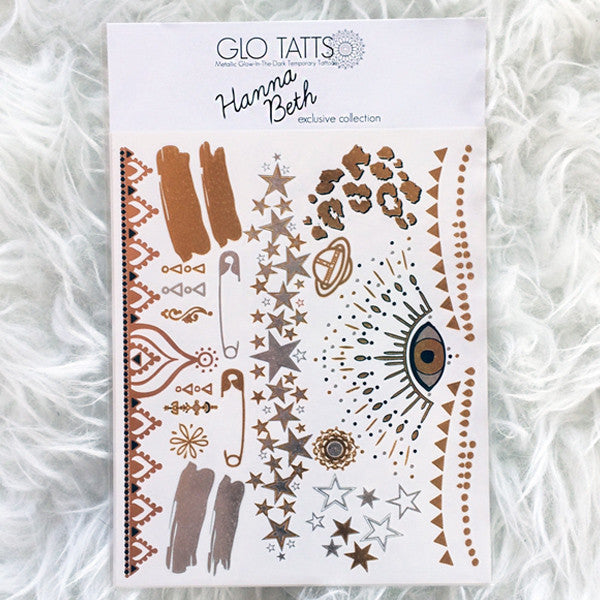 Exclusive Hanna Beth X GLO TATTS® Metallic Tattoos - BONUS sheet - GLO TATTS  - 1