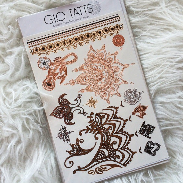 GLO TATTS® Henna Pack Metallic Temporary Tattoos - GLO TATTS  - 1