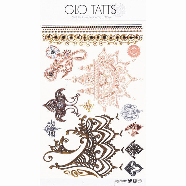 GLO TATTS® Henna Pack Metallic Temporary Tattoos - GLO TATTS  - 5