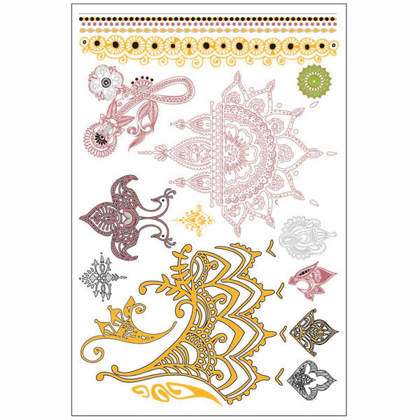 GLO TATTS® Henna Pack Metallic Temporary Tattoos - GLO TATTS  - 6