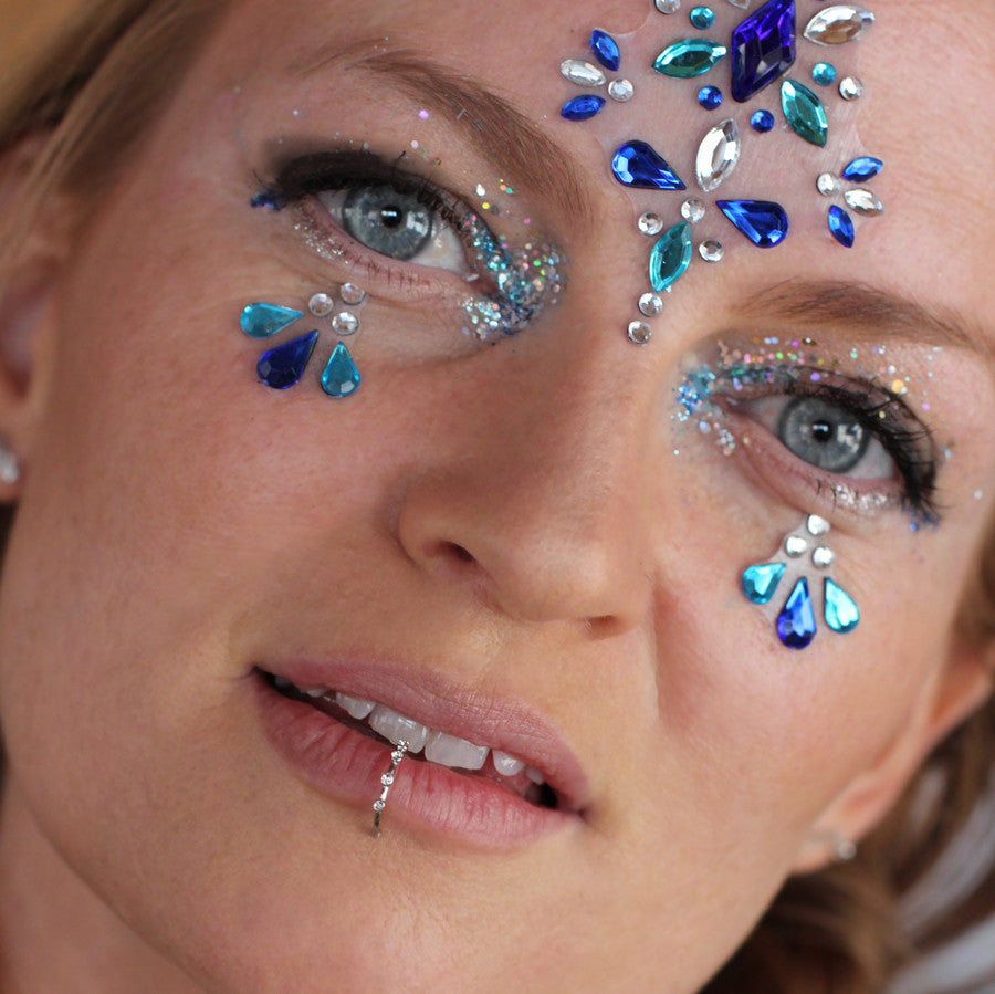 All-in-one GLO Bindi - Chunky Crystal Face Gems in Blues
