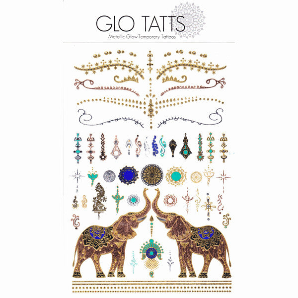 GLO TATTS® SITA Pack Metallic Glow Temporary Tattoos - GLO TATTS  - 8