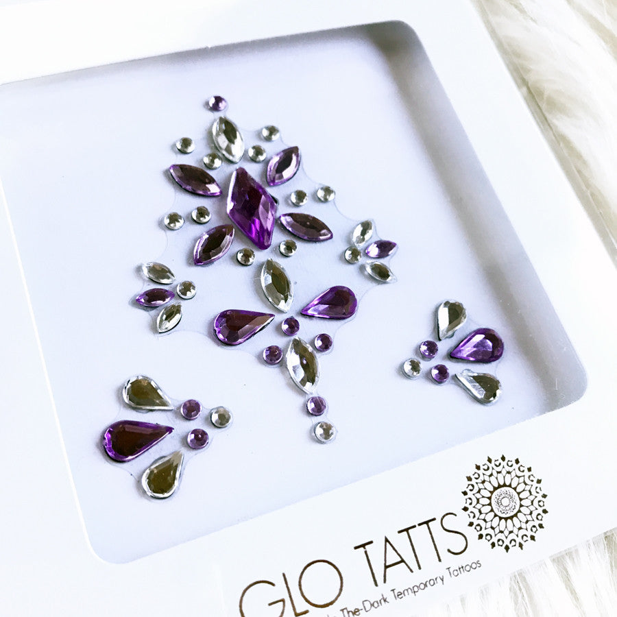 All-in-one GLO Bindi - Chunky Crystal Face Gems in Purple Silver