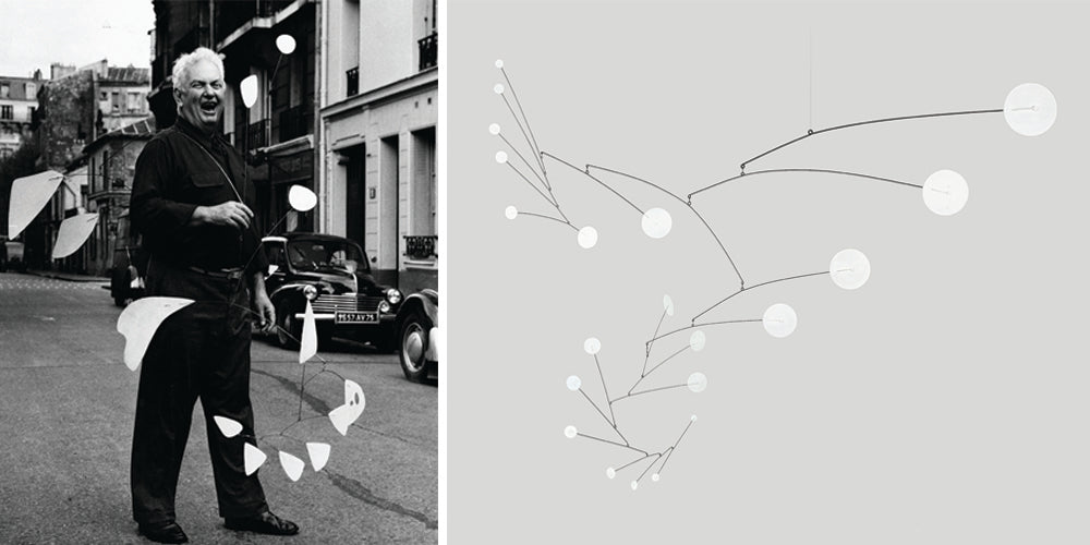 Photo credits: Agnès Varda, Calder with 21 feuilles blanches, 1954 (left), and Alexander Calder, Snow Flurry, 1950 (right) / 2015 Calder Foundation, New York / DACS, London