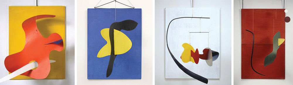 Photo credits: Alexander Calder, Form Against Yellow, 1936 (far left), Blue Panel, 1936 (mid-left), White Panel, 1936 (mid-right), and Red Panel, 1936 (far right) / 2015 Calder Foundation, New York / DACS, London