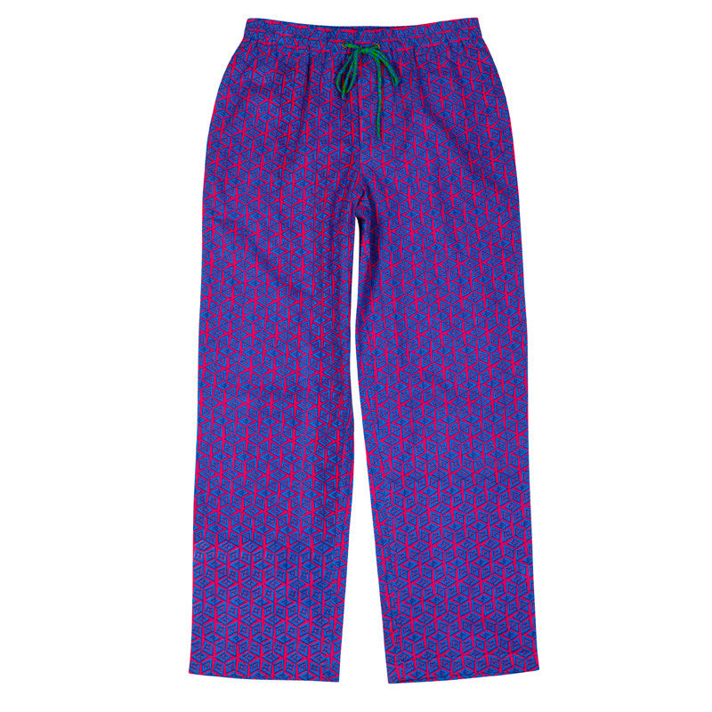 Cotton Lounge Pants In Pink And Blue Print