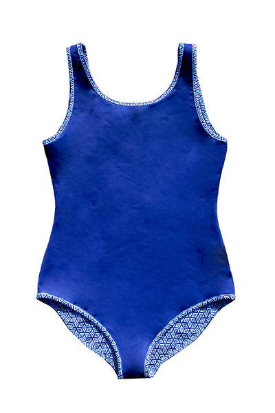 Reversible swimsuit in HONEYCOMB
