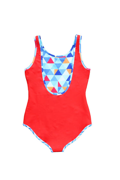 Reversible swimsuit in Red Triangle