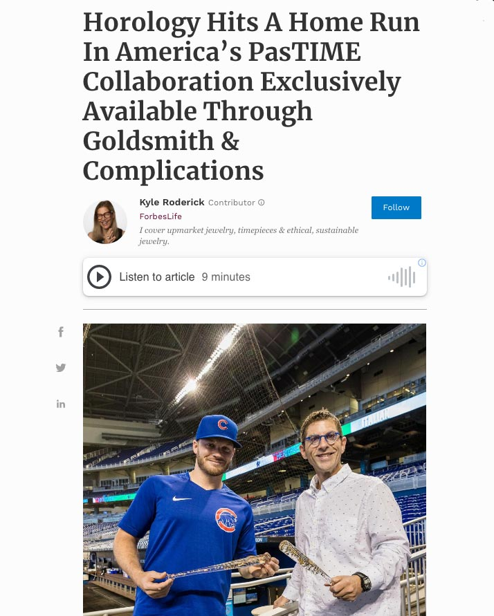News story by Forbes about America's Pastime sculpture by Berd Vaye Goldsmith and Complications Ian Happ