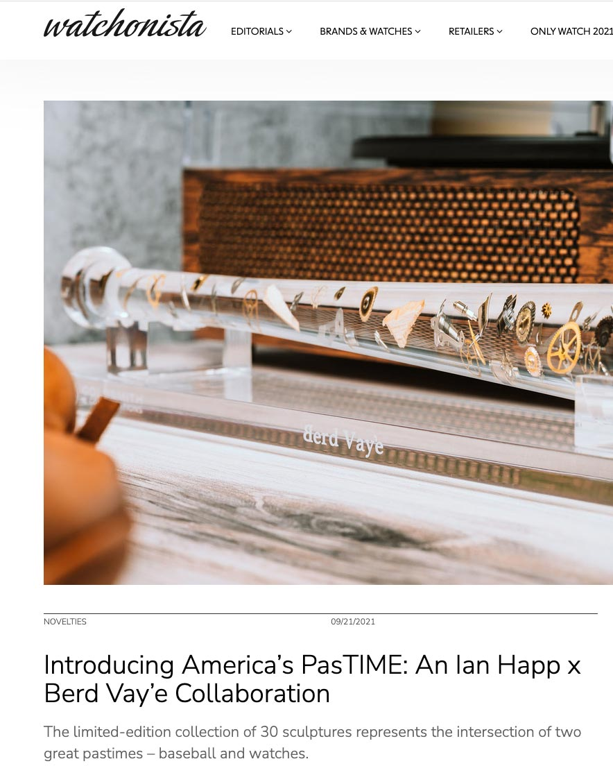 News story by Watchonista about America's Pastime sculpture by Berd Vaye Goldsmith and Complications Ian Happ