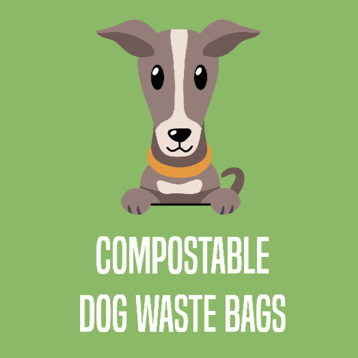 Compostable dog poop bags button with cartoon italian greyhound