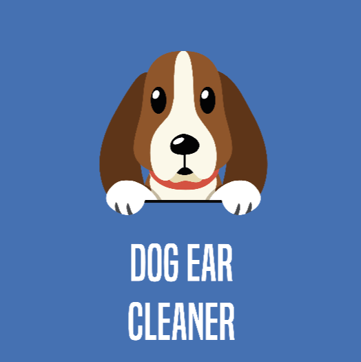 pet ear cleaning solution button with cartoon basset hound