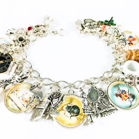 Alice in Wonderland charm bracelet - Alice and the White Rabbit