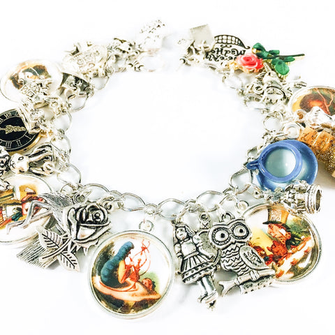 Alice in Wonderland charm bracelet - Alice and Absolem