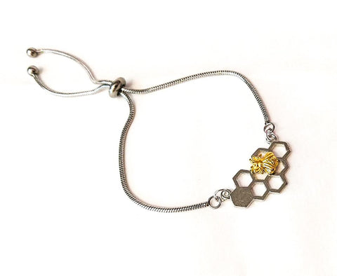Bumble Bee slider bracelet - Sterling Silver