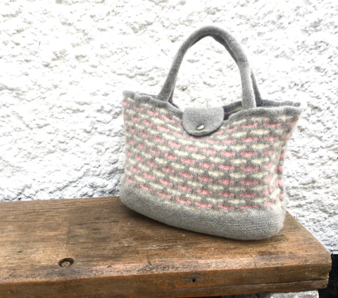 Felted bag - Honeycomb grey, pink and cream, Tote bag/ECO bag