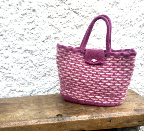 Felted bag - Honeycomb deep pink, dusky pink and cream, Tote bag/ECO bag