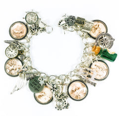 Peter Pan charm bracelet with vintage sepia cameos