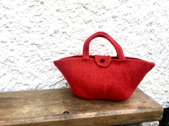 Red felted tulip shaped bag
