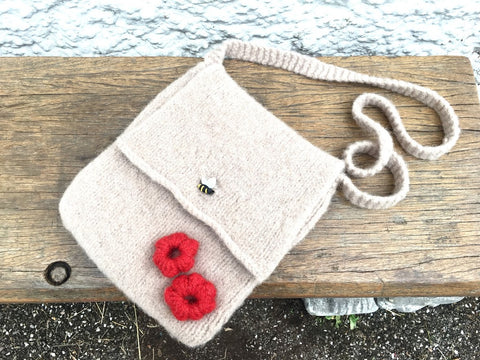 Felted beige shoulder bag with flowers and bee button