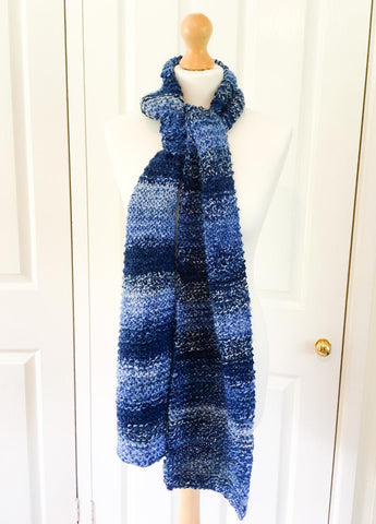 Stripy blue knitted scarf
