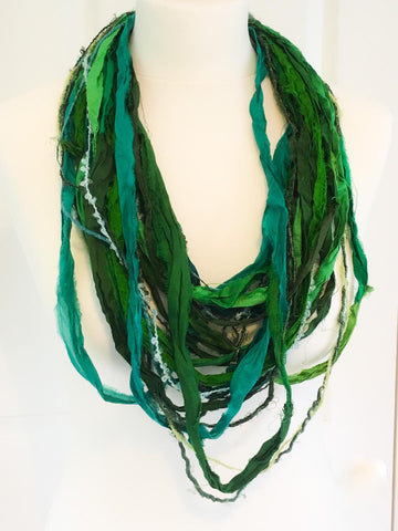 Green sari silk scarf necklace