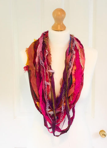 Sari silk scarf necklace