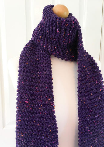 Purple knitted scarf