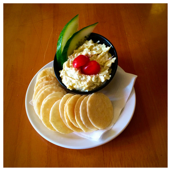 Artichoke Parmesan Dip with Sesame Rice Crackers