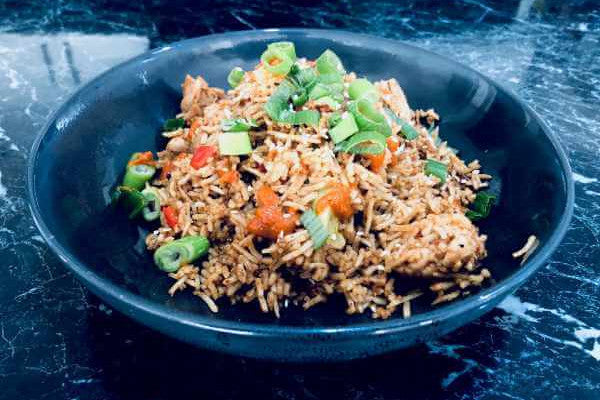 Chicken Fried Rice with Korean Hot Sauce