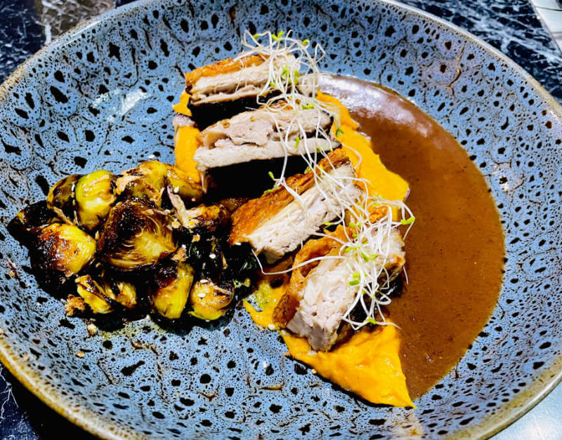Asian Crispy Plum Pork Belly with Asian Plum Sauce & Asian Fried Brussel Sprouts