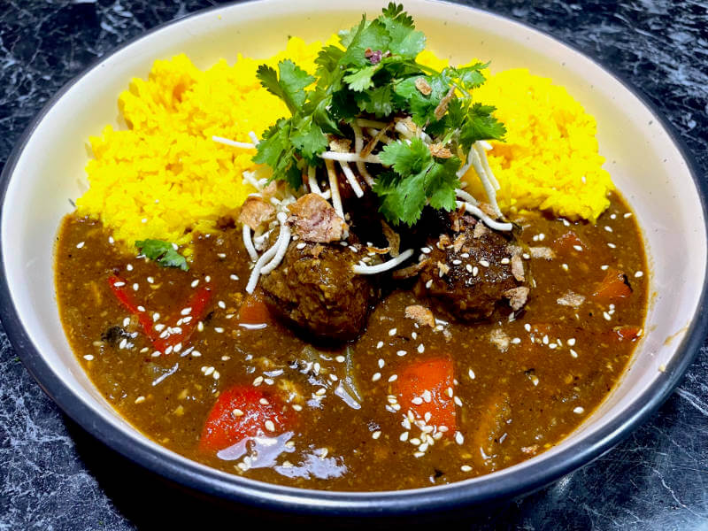 Chinese Pork Curry MeatBalls with Yellow Rice