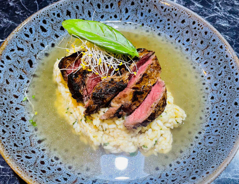 Thai Risotto with Thai Marinated Eye Fillet