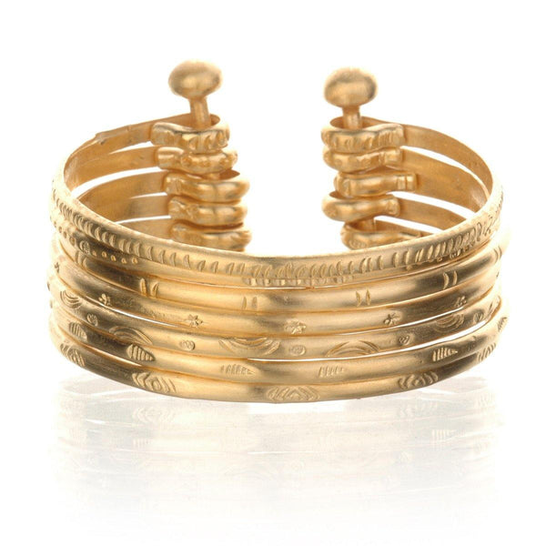 SATYA - Small Gold Bangle Bracelet Cuff -