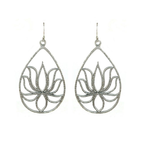 SATYA -Silver Lotus Earrings - Teardrop Lotus -