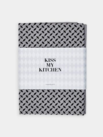KISS MY KITCHEN - Geschirrtuch ' Grey/Black' mit Rand