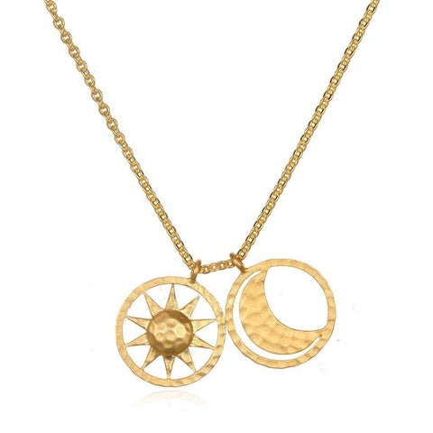 SATYA - Kette ' Sun and Moon Gold Necklace -