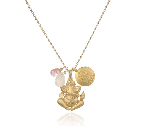 SATYA - Ganesha Pendant Necklace with Rose Quartz -