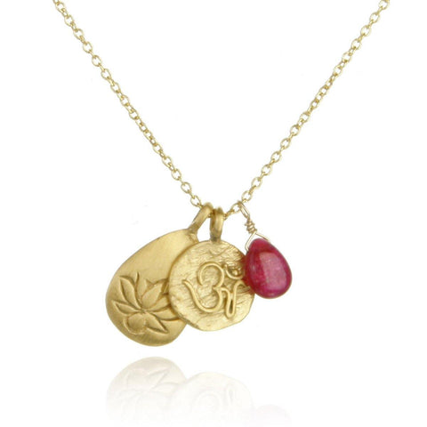 SATYA - Gold Ruby Om And Lotus Necklace -