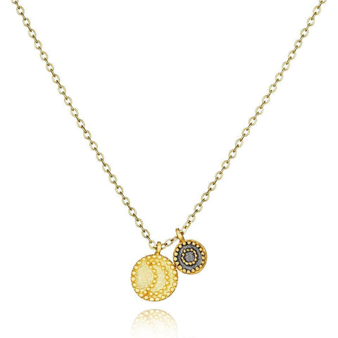 SATYA - Gunmetal And Gold Celestial Necklace - Twilight -