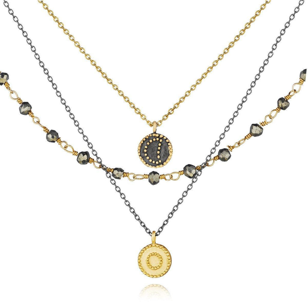 SATYA - Gunmetal And Gold Pyrite Celestial Triple Strand Necklace -