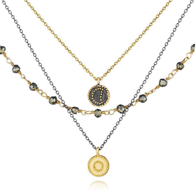 SATYA - Gunmetal And Gold Pyrite Celestial Triple Strand Necklace - - Das Berlinerzimmer