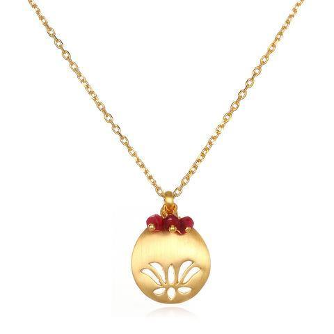 SATYA - Lotus Birthstone Necklace - July -