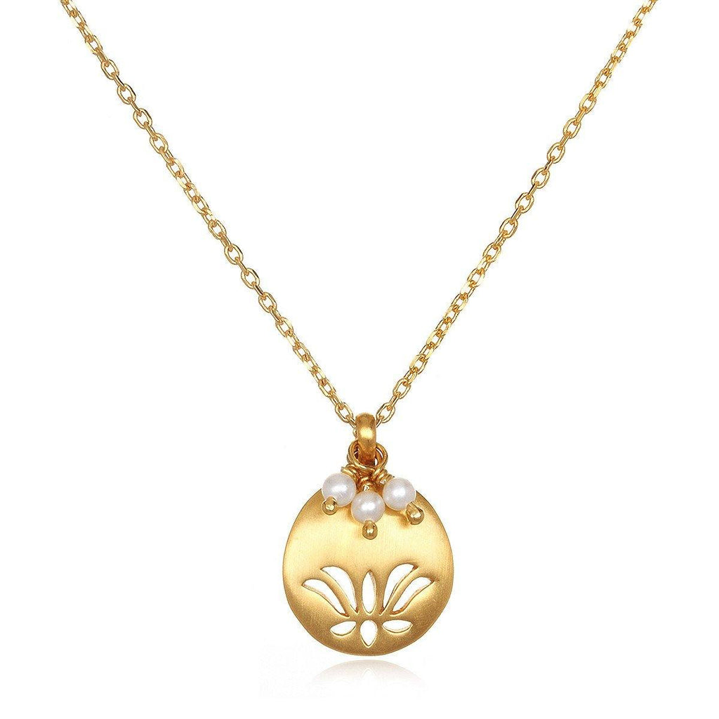 SATYA - Lotus Birthstone Necklace - June -