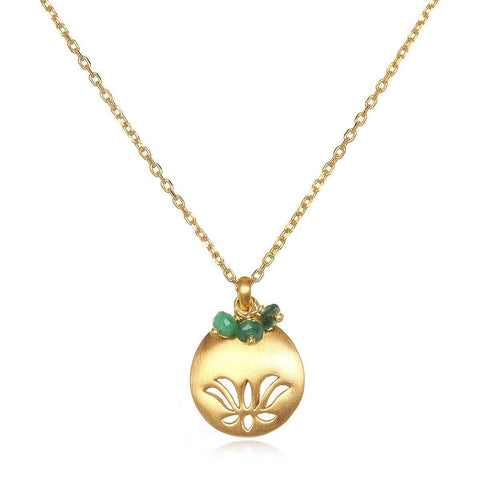 SATYA - Lotus Birthstone Necklace - May -