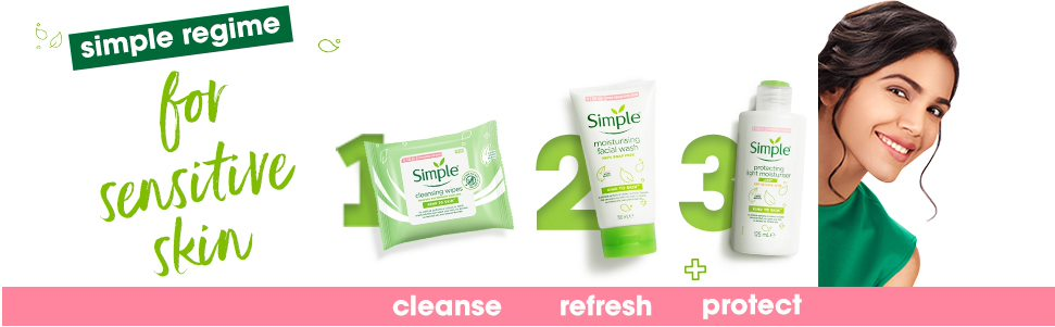 Simple Kind to Skin Cleansing Facial Wipes Combo (Pack of 2) - (25 Wipes +25 Wipes)