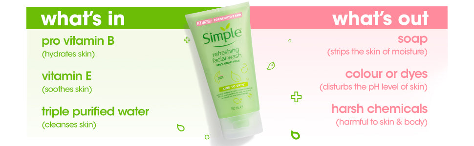 Simple Kind to Skin Refreshing Facial Wash & Micellar Cleansing Water Combo - (150ml +200ml)