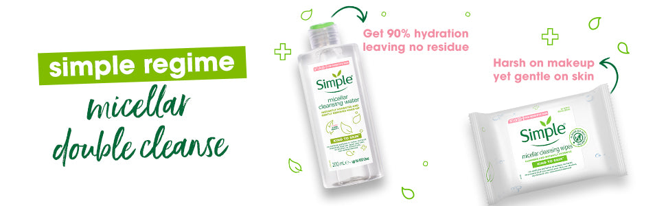 Simple Kind to Skin Micellar Cleansing Water & Micellar Cleansing Wipes Combo - (200ml + 25 Wipes)