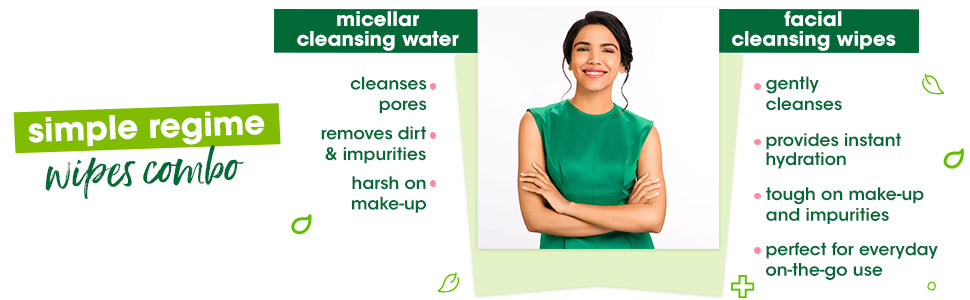 Simple Kind to Skin Cleansing Facial Wipes & Micellar Cleansing Wipes Combo - (25 Wipes + 25 Wipes)
