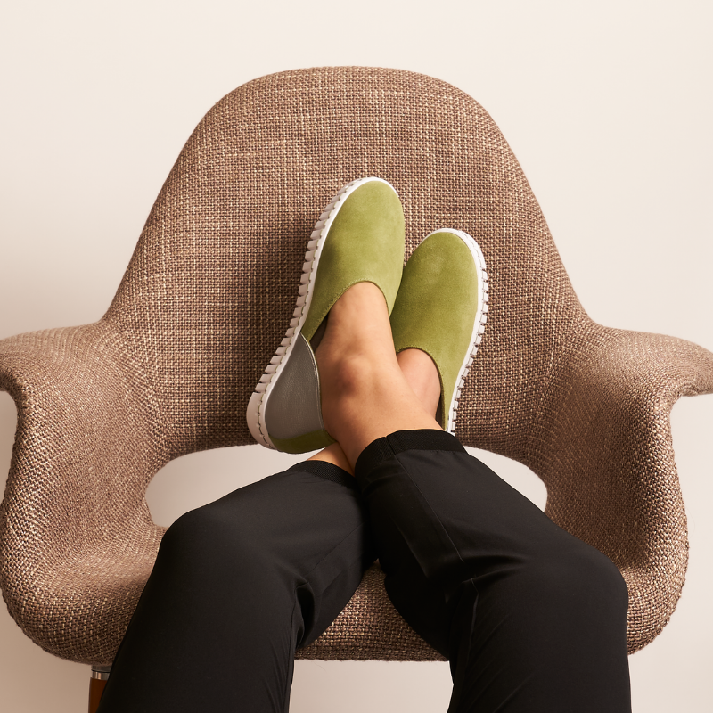 pair of aloe green bendys on a chair